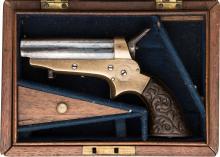 Cased Sharps Four Barrel Spur Trigger Derringer.  Seria