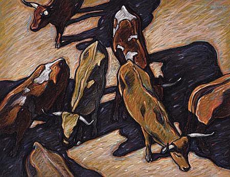HOWARD E. POST (American, b. 1948) Cattle Pastel