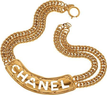 Chanel 1985 Quilted Cutout ID Necklace