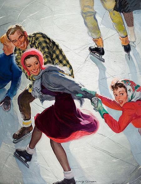 EMERY CLARKE (American , -1990) Ice Skaters, Saturday E