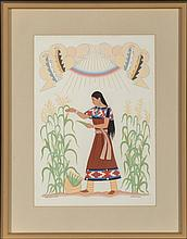 Harrison Begay, Navajo (1917 - 2012)   Corn Maiden   go