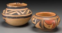 Two Small Southwest Pottery Jars  c. 1350 AD and 1950