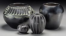 Four Southwest Blackware Items Minnie Vigil, Linda Tafo