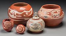 Five Santa Clara Pottery Jars Grace Medicine Flower, Ma