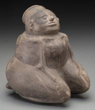 A Mississippian Seated Pottery Female  c. 1000 - 1400 A