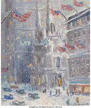 Christopher Willett (American, b. 1959) St. Patrick's, New York City Oil on canv