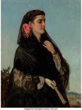 John Bagnold Burgess (British, 1830-1897) A solemn beauty Oil on canvas 30 x 22