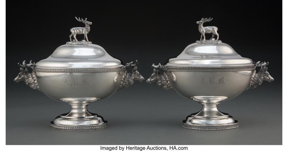 A Pair of American Silver Stag Covered Sauce Tureens, circa 1870 Marks: (efface