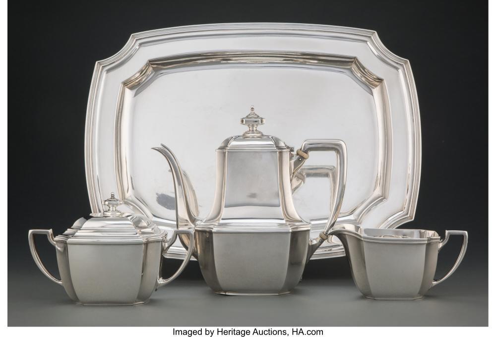 A Four-Piece Tiffany & Co. Silver Tea Set, New York, 1912 Marks to teapot: TIFFA
