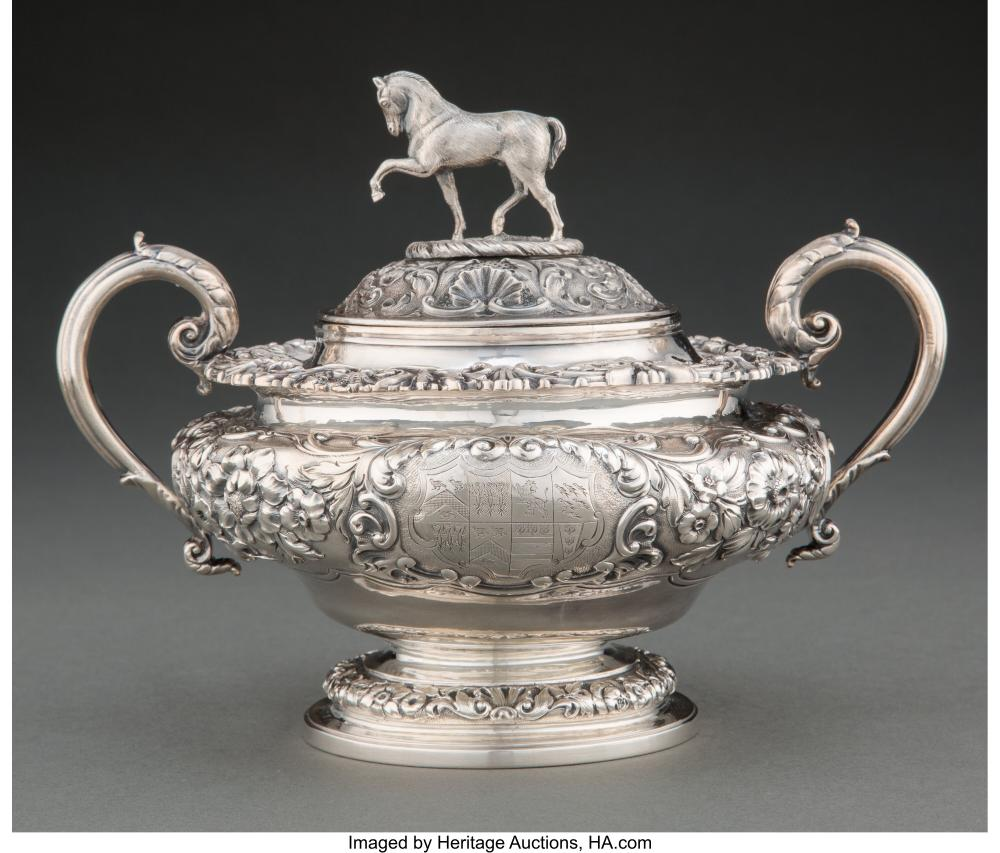 A Paul Storr Silver Figural Covered Sugar Bowl, London, 1825 Marks: (lion passan