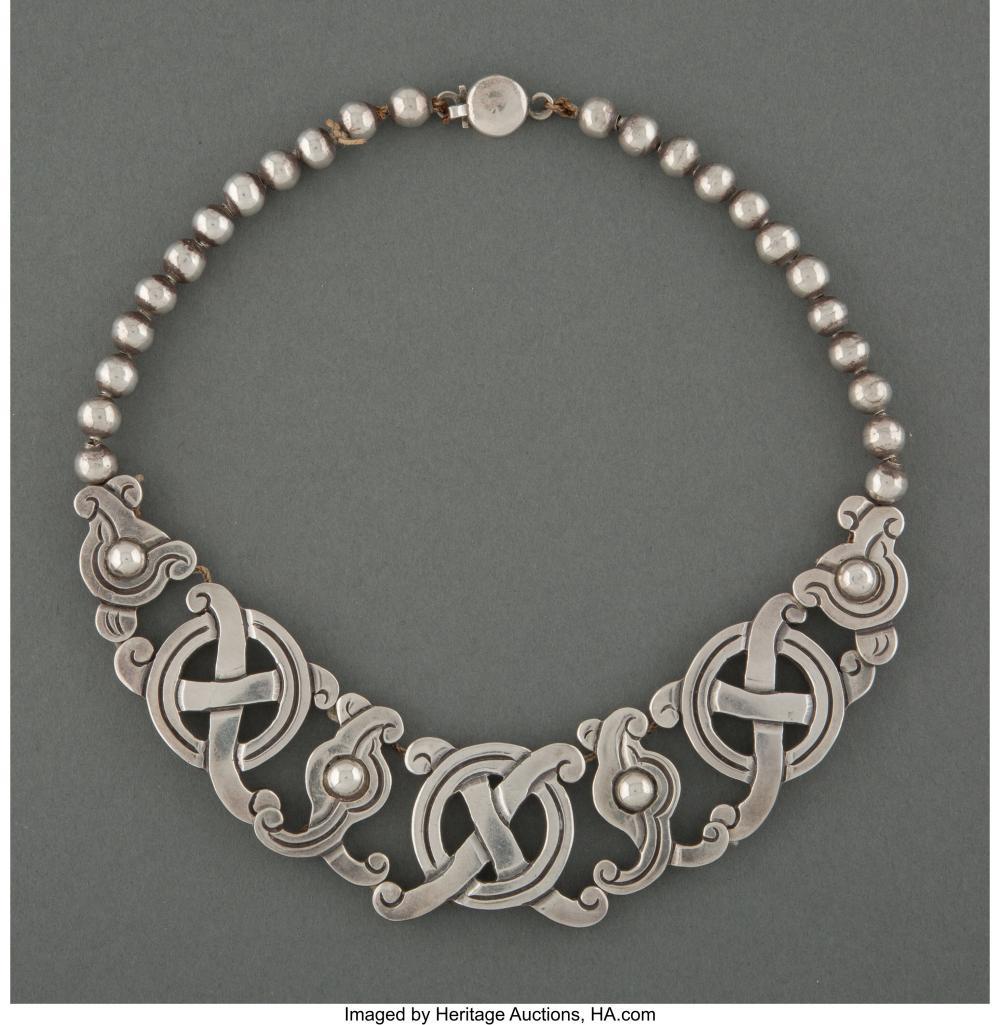 A William Spratling Silver Necklace Marks: WS SPRATLING, MADE IN MEXICO, SPRATLI