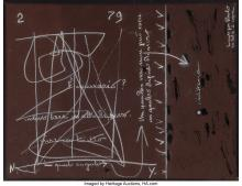 VINCENZO AGNETTI (1926-1981) UNTITLED CHALK AND INK ON PAPER 19-7/8 X 26 INCHES