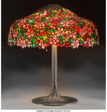 an american tiffany leaded glass and bronze table lamp 30 inches