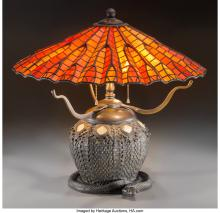 an american tiffany leaded glass and bronze table lamp with snake