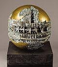 PROPERTY OF MRS. RUTH CARTER STEVENSON ARNALDO POMODORO (Italian, b. 1926) Piccolo Sfera, 1963 Bronze 20 x 20 x 20 inches (50.8 x 50.8 x 50.8 cm) Weight: sculpture, 86 lbs. (37 kg); base, 214 lbs. (97 kg) Ed. 1/2 Presented on a black stone base