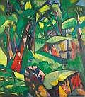 BRUNO KRAUSKOPF (German, 1892-1960) Jungle Interior Oil on canvas 37 x 32 inches (94.0 x 81.3 cm) Signed lower right: B Krauskopf