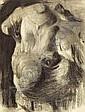 THOMAS POLLOCK ANSHUTZ (American, 1851-1912) Cast Study, Draped Torso Charcoal on white laid paper 24 x 18 inches (61.0 x 45.7 cm) Watermark: Michallet PROVENANCE: Estate of Thomas P. Anshutz / Graham (stamp verso); Mrs. Nicholas Longworth (label, Thomas Pollock Anshutz, Click for value