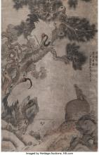 Attributed to Shen Zhou (Chinese, 1427-1509) Deer and Cranes Under Pine Tree Ink