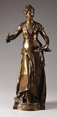 EUGENE QUINTON (French, d. 1892) Melodie Bronze 26 inches (66.0 cm) Signed on right side of base: E. Quinton Foundry mark: M. W. and stamped: Reduction Mecanique, A. Collas, Brevete This sculpture is of a standing, Victorian-era female figure,