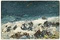 MARIA J. C. A'BECKET (American, 1840-1904) Ocean Scene Oil on panel 12-1/4 x 18-1/2 inches (31.1 x 47.0 cm) Signed lower right: Maria a Becket