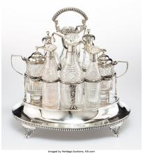A Richard Mills Silver and Glass Condiment Caddy with Two George Smith IV Silver