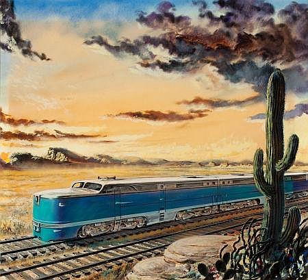 THORTON UTZ (American, 1914-1999) Train in the Desert G