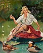 PETER DARRO (American, b. 1917) Pin-Up with Ducks Oil o, Peter  Darro, Click for value