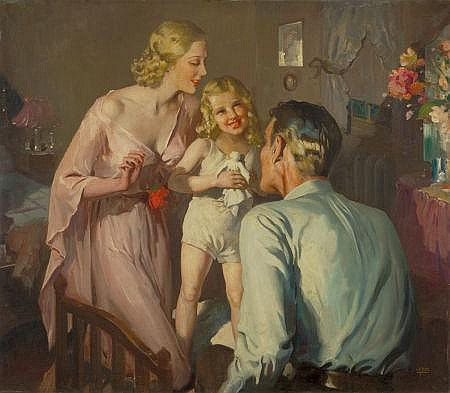 GERALD LEAKE (British, 1885-1975) The Happy Family Oil