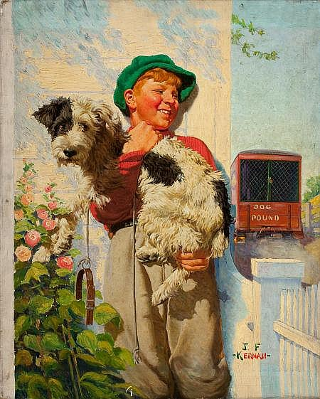 JOSEPH FRANCIS KERNAN (American, 1878-1958) Boy and Dog