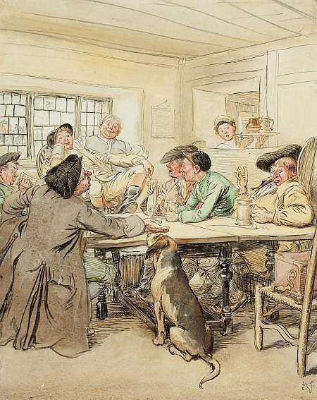 HUGH THOMSON (British, 1860-1920) She Stoops to Conquer Watercolor and ink on board 14 x 11 in. Initialed lower right  She Stoops to Conquer is a comedy by the Irish author Oliver Goldsmith.  From an Important California Collection.