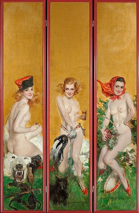 HOWARD CHANDLER CHRISTY (American, 1872-1952) Triptych of Three Nudes, Hunting, Fencing, and Tambourine, decorative folding screen, c. 1925-1930 Oil on canvas laid on board 61 x 40 in. Each panel signed When Charles Martignette acquired the painting,
