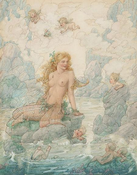 HAROLD GAZE (American, 1884-1963) Mermaid and Angels, 1940 Watercolor, gouache, and pencil on paper 13.5 x 10.75 in. Signed lower left   From an Important California Collection.
