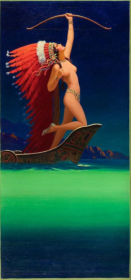 EDWARD EGGLESTON (American, 1882-1941) Flaming Arrow, calendar illustration, c. 1934 Oil on canvas 34 x 16 in. Not signed This painting was also reproduced as figure 91 in The Great American Pin-Up by Charles G. Martignette and Louis K. Meisel,