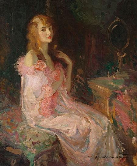 WALTER G. RATTERMAN (American , 1887-1944) The Pink Robe, 1924 Oil on canvas 36 x 30 in. Signed lower right   From the Estate of Charles Martignette.