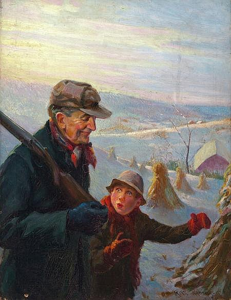 ROBERT ROBINSON (American, 1886-1952) Hunting with Grandfather Oil on canvas 31.25 x 24 in. Signed lower right   From the Estate of Charles Martignette.