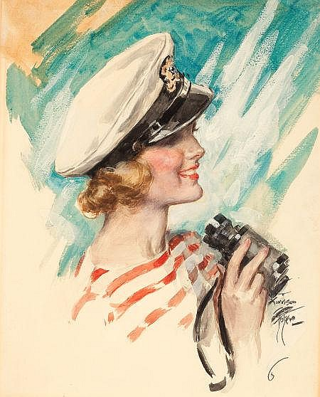 HARRISON FISHER (American, 1875-1934) Cosmopolitan magazine cover, August 1933 Gouache and watercolor on board 18.5 x 14.5 in. Signed lower right This popular image appeared as a cover for two different publications. This scene first appeared on the