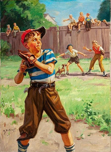 HY (HENRY) HINTERMEISTER (American, 1897-1972) The Sandlot Oil on canvas 30 x 22 in. Signed lower left   From the Estate of Charles Martignette.