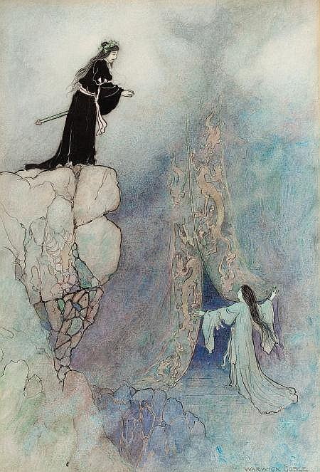WARWICK GOBLE (British, 1862-1943) The Land of Yomi, Green Willow and Other Japanese Fairy Tales book illustration, 1910 Watercolor and ink on paper 13.25 x 9.5 in. Signed lower right   From the Estate of John McLaughlin.