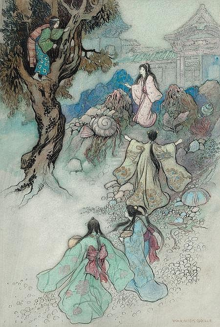 WARWICK GOBLE (British, 1862-1943) The Sea King and the Magic Jewels, Green Willow and Other Japanese Fairy Tales book illustration, 1910 Watercolor and ink on paper 13.25 x 9 in. Signed lower right   From the Estate of John McLaughlin.