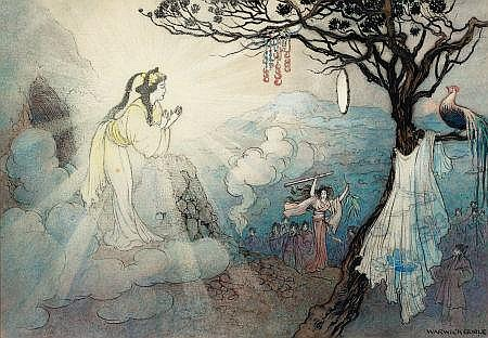 WARWICK GOBLE (British, 1862-1943) The Story of Suza, the Impetuous, Green Willow and Other Japanese Fairy Tales book illustration, 1910 Watercolor and ink on paper 9 x 13.25 in. Signed lower right   From the Estate of John McLaughlin.