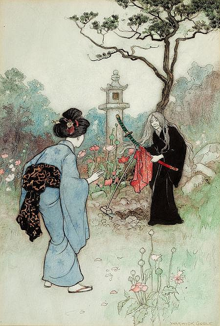 WARWICK GOBLE (British, 1862-1943) The Nurse, Green Willow and Other Japanese Fairy Tales book illustration, 1910 Watercolor and ink on paper 13 x 9 in. Signed lower right   From the Estate of John McLaughlin.