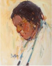 JAMES BUTLER (AMERICAN, B. 1925) NATIVE AMERICAN PORTRAIT GOUACHE ON BOARD 6-1/2