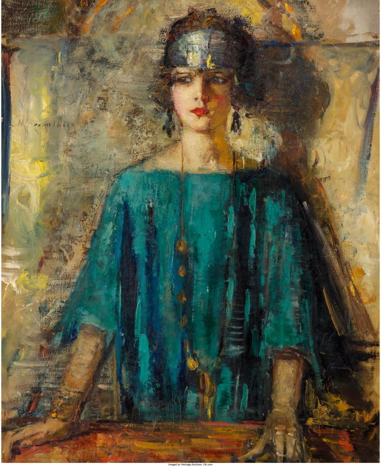 MARY KREMELBERG (AMERICAN, 1875-1946) PORTRAIT OF A FLAPPER OIL ON CANVAS 39-3/4