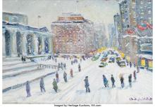 Christopher Willett (American, b. 1959) 5th Ave. and 42 St., New York Oil on Mas
