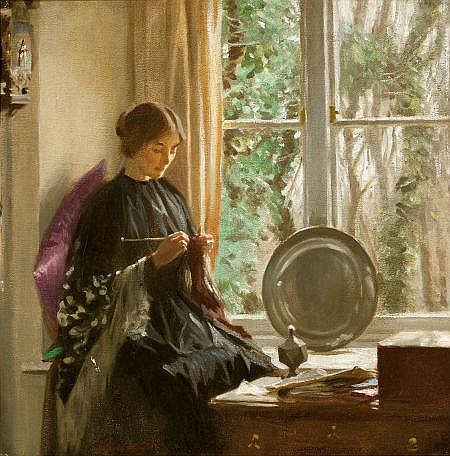 HAROLD KNIGHT (British, 1874-1961) By the Window Oil on