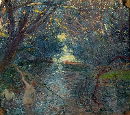 GASTON LA TOUCHE (French, 1854-1913) Pond, Bathers, Can