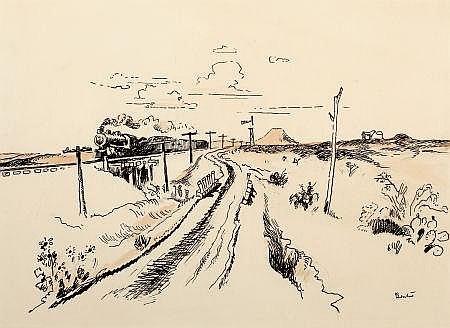 THOMAS HART BENTON (American, 1889-1975) Train Out West