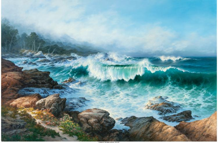 WENDELL BROWN (AMERICAN, B. 1941) MORNING SYMPHONY AT SPANISH BAY, 1983 OIL ON C