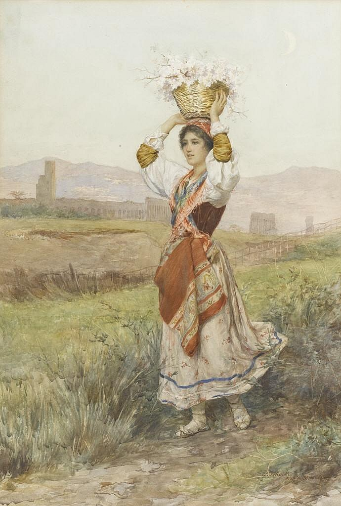 LUIGI OLIVIETTI (Italian)   Young Girl on Country Road,  1902 Watercolor on paper Signed to lower right  L. Olivetti, Roma MDCCCIIC.  Marked to verso  Original Italian Watercolor, Excellent, Albert Phillips Estate, 1