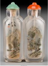 A Chinese Inside-Painted Double Snuff Bottle with Landscape Scenery 2-3/8 inches